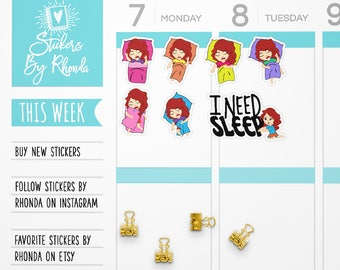 Nap Stickers - Sleep Planner Stickers -  Red Head Stickers  Functional Planner Stickers - Diary Stickers - Girl Stickers - Sleepytime Lizzy