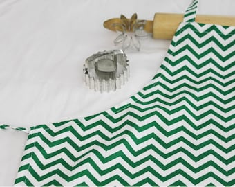 Green Chevron Adult Apron