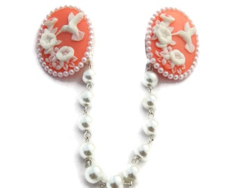 Hummingbird Cameo Sweater Clip - Pink and White Bird and Flowers - White Pearls - Retro - Cardigan Clip - Sweater Guard - Sweater Clasp