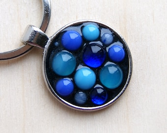 Blue glass keychain, Blue keyring, Modern Mosaic keyring, Mosaic keyring, Blue keychain, gift keyring, key ring, gift for him
