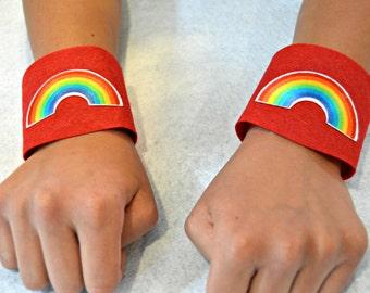Rainbow Wrist Bands. Rainbow Wrist Cuffs. Rainbow Costume. Kids Wrist Bands. Adult Wrist Bands. Rainbow Party. Superhero Cuffs.
