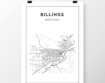 FREE SHIPPING to the U.S!! BILLINGS, Montana Map Print
