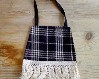 READY TO SHP, Big Sky Plaid Drool Bib with Fringe, Baby, Boho, Black, Ivory, Girls, Boys, Gender Neutral, Gift, Hipster