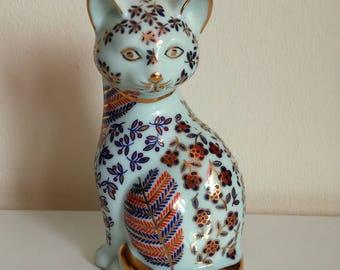 Librasco Porcelain Imari Cat Figurine, Made in Japan