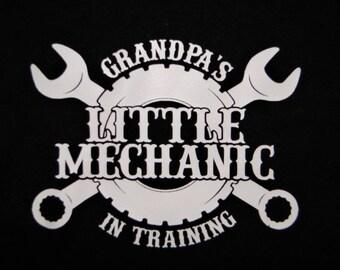 Baby's bodysuit creeper or t shirt one piece baby's shower gift newborn new grandfather grandpa Grandpa's little MECHANIC in training black