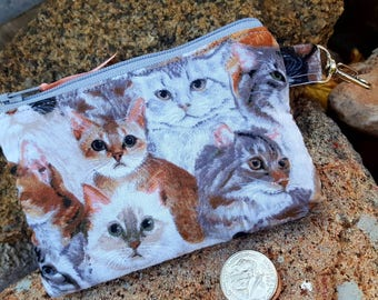 Cat Coin Purse, Kitty Zipper Pouch, Cat Earbud Pouch, Kitty Zipper Wallet, Girls Coin Purse, Lunch money pouch, cardit card pouch