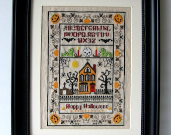 Halloween Cross Stitch Pattern Sampler Needlepoint Download or Embroidery Chart Haunted House