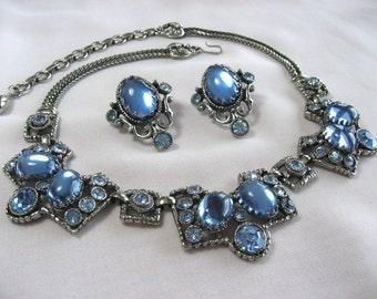 Sale - Rare Unmarked Selro Necklace Earrings Blue Moonstone Rhinestone