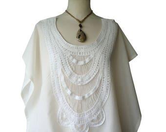 Tunic Blouse ecru bobo Clayna embroidered applique