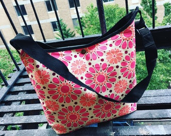 Pink Floral Cotton Print Market Bag, Vintage Inspired Floral Print Messenger Tote, Satchel and Shoulder Bag