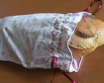 Double bag to bread or baguettes Tea Time, printed, cotton