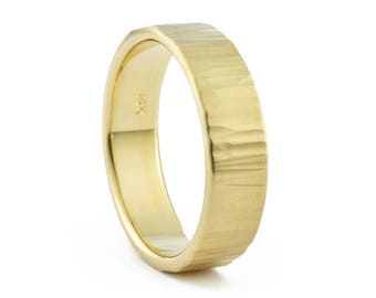 14K Gold Mens Hammered Wedding Band, Mens Ripple Wedding Ring, 14K Gold Men's Textured Wedding Ring, Made to Order in 2-3 weeks