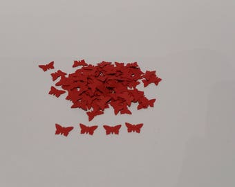 Set of 100 confetti red tie for table decoration or scrapbooking