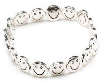 Smiley Happy Face Emoji Silver Tone Elasticated Bracelet Cute Love Anniversary Friendship Fun Funny Free UK P&P