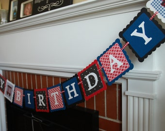 Train Happy Birthday Banner, Train Party, Train Birthday, Train Theme, Choo Choo, Chugga Chugga Red Black White Royal Blue