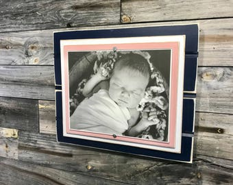 "Navy blue and blush pink picture frame holds 8""x10"""