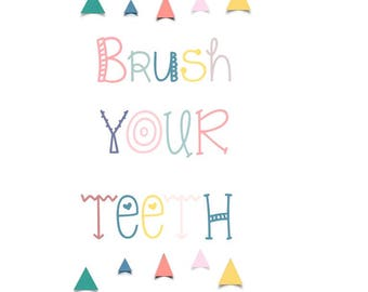 Colorful Brush your teeth kids illustration