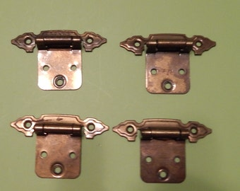 4 Cabinet door Spring Loaded Hinges with Screws Ornate used Recycle, Reuse Surface Mounted project  Golden Metal