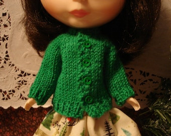 Blythe Holiday Green Wool Cardigan Sweater for Pullip Too.
