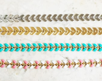 510.Chevron Choker,Arrow Choker Necklace,Chevron Choker Necklace, Dainty Chain  Choker, Layering Necklace - Choose your length and color