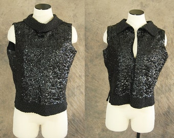vintage 60s Beaded Sweater - 1960s Fully Beaded Black Wool Sweater Sleeveless Sweater Tank Top Sweater Vest SZ L