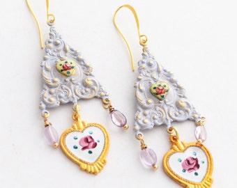 Mother's Day Gift for Mom, Dresden Rose Earrings, Purple Amethyst Earrings, February Birthstone Earrings,Vintage Enamel Heart Charm Earrings