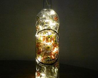 Spanish Themed Wine Bottle with warm white LED lights