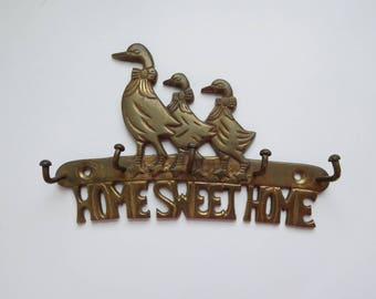 Vintage brass ducks key rack Brass key holder Key wall rack Key hooks