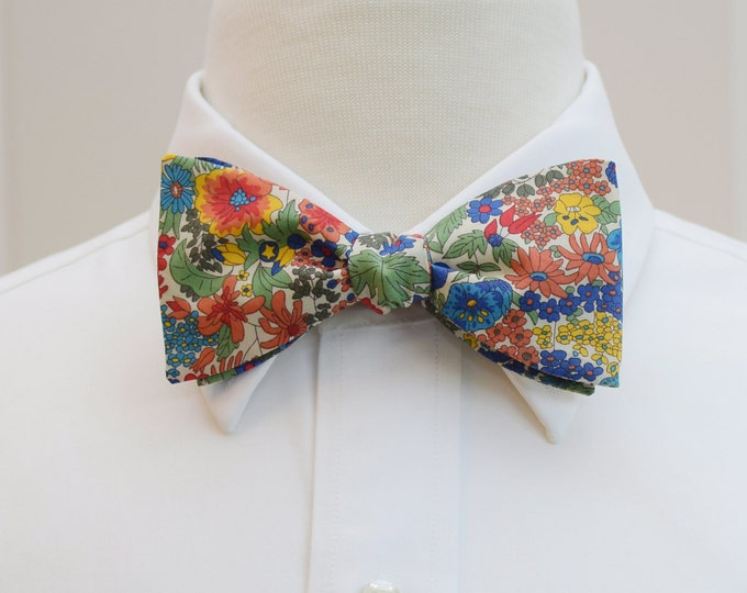 Men's Bow Tie, Liberty of London, orange/blue/multi floral Margaret Annie design, groomsmen/groom bow tie, wedding bow tie, tux accessory