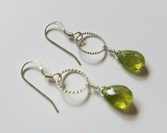 Peridot Earrings with Bali Silver