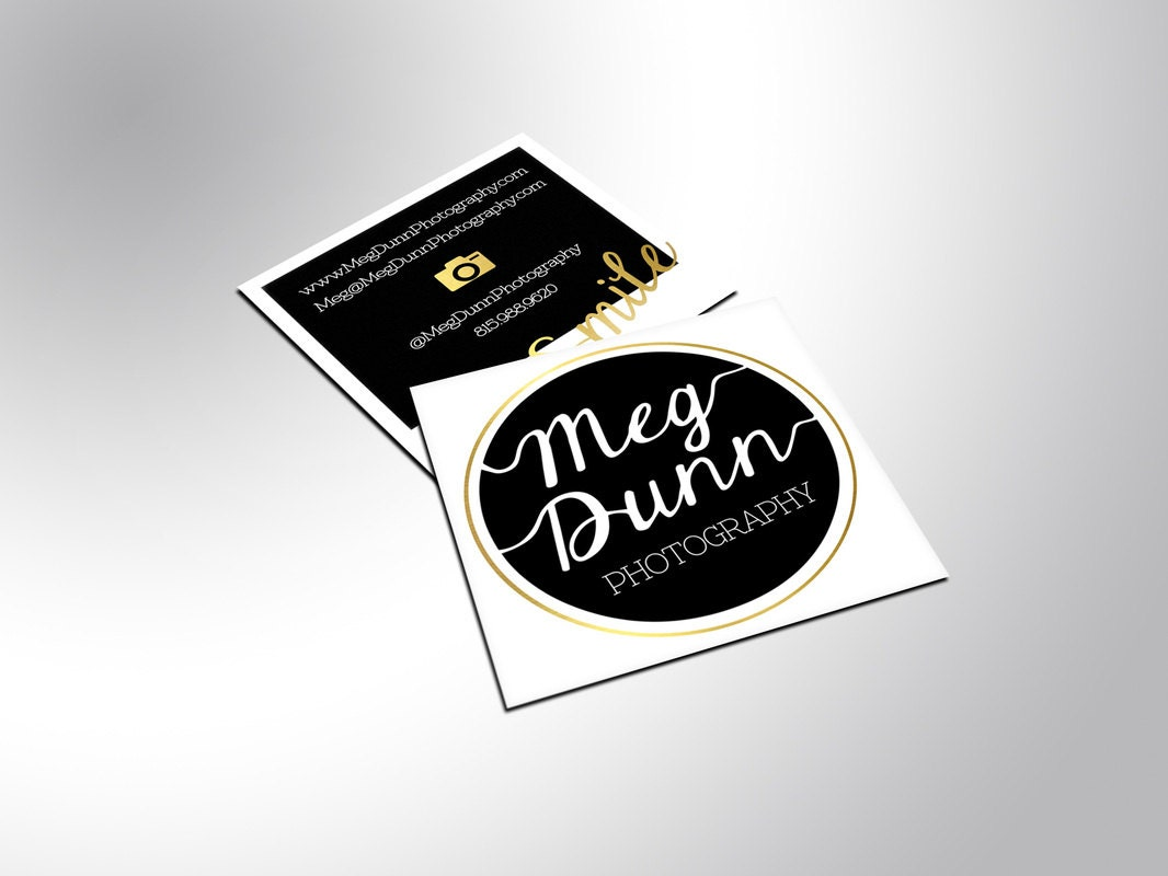Foil Square Business Cards with Silk Laminate