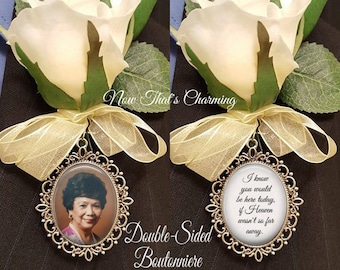 SALE! Memorial Boutonniere Charm - Double-sided - Oval - Personalized with Photo - Antique Silver or Bronze - I know you would be here today