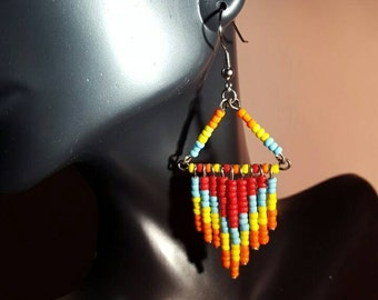 Beaded fringe chevron trapeze earrings