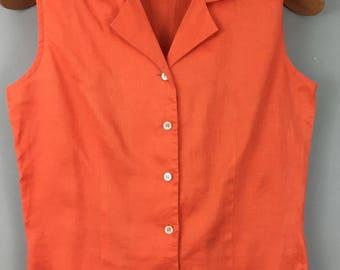 Vintage LAURA ASHLEY orange sleeveless linen shirt top UK 8