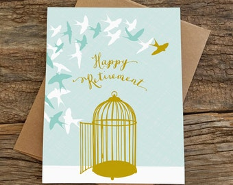 retirement card / happy retirement / birds