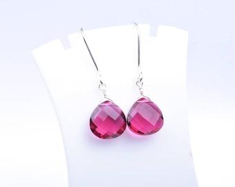 Handmade 925 Silver Quartz Silver Earrings,Silver Earrings,Heart Earrings,Rubellite Briolette Wire Wrapped Earrings-Pink Earrings (2631)
