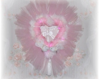 NEW Pink Tulle Love Doves Heart Wreath for your Seasonal or Wedding Decor