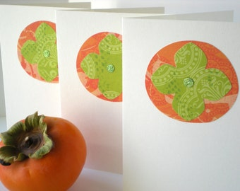 Persimmon 3-Card Set Handmade Orange Lime Green Fruit Garden Farmers Market Cut Paper