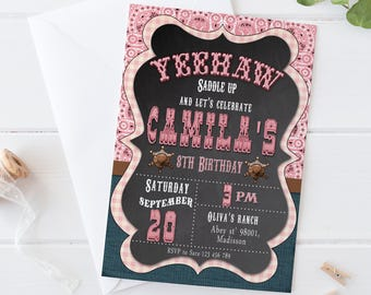 Cowgirl Invitation / Digital Printable Birthday Invite for Girls / Western Style / DIY Party
