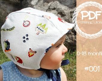 Brimless Baby Bonnet Pattern // Bonnet Sewing Pattern // Modern Baby Bonnet Pattern // Ear Add-on // Hearing Aid Hat // Pilot Cap // Sun Hat