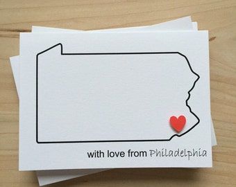 Philadelphia Note Card Set, With Love From Philadelphia Thank You Card Set