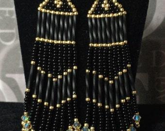 Seed Bead Fringe Earrings - Long Black and Gold Beaded Crystal Earrings - Beadwork Jewelry