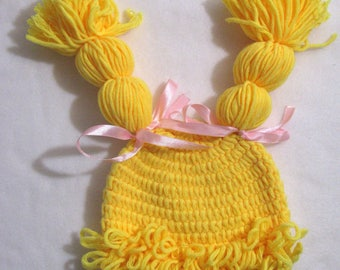 NEWBORN crochet hat crochet BABY hat  Yellow Blonde wig h33