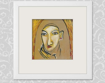 """Nun 20/20 cm Portrait image - women - people - """"Holy"""" - painting abstract and modern art"""