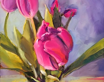 just breathe // original oil painting // tulips // tulip painting // tulip art // floral painting // pink flower painting // original art