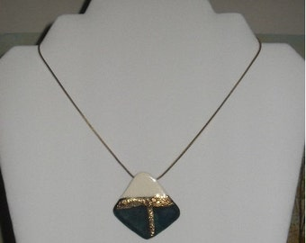 Large white, gold, and teal re-purposed vintage earring pendant