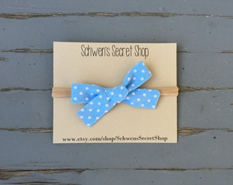 Blue baby bow, fabric bow headband, hand tied bow, baby girl bow, nylon headband, school girl bow, baby headband, baby hair bow