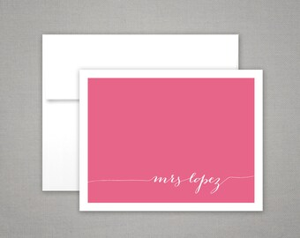 Stationery Set     Personalized Teacher Gift   Folded Notecards   MODERN CALLIGRAPHY   Colorful Printed Personalized Stationery