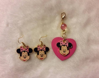 Pink and black polka dotted hair bow Minnie Mouse earrings or Minnie Mouse heart zipper decor