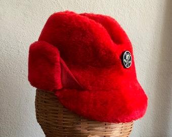 Red Hat Faux Fur Earflaps Winter Hat Vintage Hat